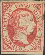 ISABEL II. Isabel II. 1 De Enero De 1851. * MH 9 5 Reales Rosa (pequeños Puntitos Claros). A EXAMINAR. Cert. GRAU - Spanje