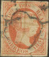 ISABEL II. Isabel II. 1 De Enero De 1851. º 8 2 Reales Bermellón. Enormes Márgenes Y Color Intenso. M - Spanje