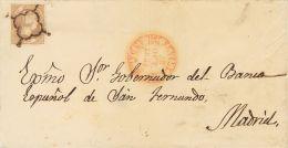 ISABEL II. Isabel II. 1 De Enero De 1851. SOBRE 7 1851. 12 Cuartos Lila. SEVILLA A MADRID. Matasello ARAÑA. RARO - Spanje