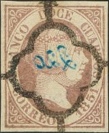 ISABEL II. Isabel II. 1 De Enero De 1851. º 7 12 Cuartos Lila. FALSO SPERATI (con Marca De La B.P.A., Al Dorso). MA - Spanje