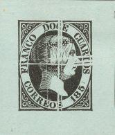 ISABEL II. Isabel II. 1 De Enero De 1851. (*) 7P 12 Cuartos Negro. PRUEBA DE PLANCHA LIMADA. MAGNIFICA. - Spanje