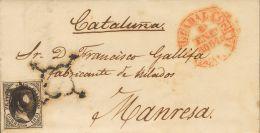 ISABEL II. Isabel II. 1 De Enero De 1851. SOBRE 6 1851. 6 Cuartos Negro. GUADALAJARA A MANRESA. Matasello ARAÑA E - Spanje
