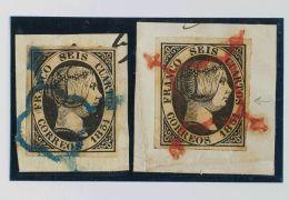 ISABEL II. Isabel II. 1 De Enero De 1851. Fragmento 6(2) 6 Cuartos Negro, Dos Sellos Sobre Fragmentos Inutilizados Con M - Spanje