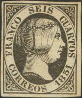 ISABEL II. Isabel II. 1 De Enero De 1851. (*) 6 6 Cuartos Negro. MAGNIFICO. Cert. CEM. (Edifil 2017: 375€) - Spanje