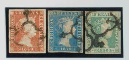ISABEL II. Isabel II. 1 De Enero De 1850. º 3, 4, 5 5 Reales Rojo, 6 Reales Azul Y 10 Reales Verde (calidades Diver - Spanje