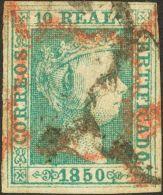 ISABEL II. Isabel II. 1 De Enero De 1850. º 5 10 Reales Verde (leve Adelgazamiento). Matasello ARAÑA Doble, - Spanje
