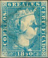 ISABEL II. Isabel II. 1 De Enero De 1850. º 4 6 Reales Azul (conservación Regular). Matasello ARAÑA, - Spanje