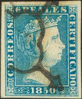 ISABEL II. Isabel II. 1 De Enero De 1850. º 4 6 Reales Azul. Color Intenso Y Grandes Márgenes. PIEZA DE LUJO - Spanje