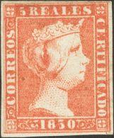 ISABEL II. Isabel II. 1 De Enero De 1850. * MH 3 5 Reales Rojo (leve Puntito Claro). Color Intenso Y Buenos Márge - Spanje
