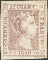 ISABEL II. Isabel II. 1 De Enero De 1850. (*) 2 12 Cuartos Lila (leve Puntito Claro). MAGNIFICO. Dictamen CEM. (Edifil 2 - Spanje