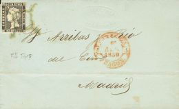 ISABEL II. Isabel II. 1 De Enero De 1850. SOBRE 1A 1850. 6 Cuartos Negro. ZARAGOZA A MADRID. Matasello ARAÑA, En - Spanje