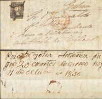 ISABEL II. Isabel II. 1 De Enero De 1850. SOBRE 1 1850. 6 Cuartos Negro. TALAVERA DE LA REINA A PUEBLA DE TRIVES. Al Dor - Spanje