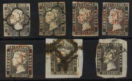 ISABEL II. Isabel II. 1 De Enero De 1850. º 1(4), 1A(3) Conjunto De Siete Sellos Del 6 Cuartos Negro, Uno Con Matas - Spanje