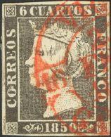 ISABEL II. Isabel II. 1 De Enero De 1850. º 1 6 Cuartos Negro. Matasello Baeza VIGO / GALICIA. MAGNIFICA ESTAMPACIO - Spanje