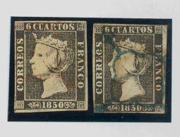 ISABEL II. Isabel II. 1 De Enero De 1850. º 1, 1A 6 Cuartos Negro, Dos Sellos Ambos Con Matasello ARAÑA, En - Spanje