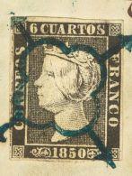 ISABEL II. Isabel II. 1 De Enero De 1850. Fragmento 1 6 Cuartos Negro, Sobre Fragmento. Matasello ARAÑA, En Azul. - Spanje