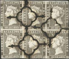 ISABEL II. Isabel II. 1 De Enero De 1850. º 1A(6) 6 Cuartos Negro, Bloque De Seis. Matasello ARAÑA, Muy Limp - Zonder Classificatie