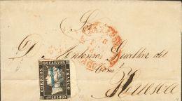 "ISABEL II. Isabel II. 1 De Enero De 1850. SOBRE 1 1850. 6 Cuartos Negro, Borde De Hoja. ZARAGOZA A HUESCA. Matasello ""11 - Zonder Classificatie"