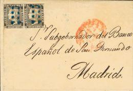 ISABEL II. Isabel II. 1 De Enero De 1850. º 1 1850. 6 Cuartos Negro, Pareja (I-2, 3). SEVILLA A MADRID. Matasello P - Spanje