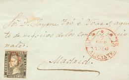 ISABEL II. Isabel II. 1 De Enero De 1850. SOBRE 1 1850. 6 Cuartos Negro. Frontal De ALICANTE A MADRID. Matasello Prefila - Spanje