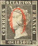 """ISABEL II. Isabel II. 1 De Enero De 1850. º 1 6 Cuartos Negro. Matasello """"O"""", En Rojo De Arévalo. MAGNIFICO - Spanje"""