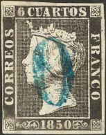"ISABEL II. Isabel II. 1 De Enero De 1850. º 1A 6 Cuartos Negro (II-8). Matasello Prefilatélico ""O"", En Azul - Spanje"