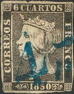 "ISABEL II. Isabel II. 1 De Enero De 1850. º 1 6 Cuartos Negro. Matasello Prefilatélico ""4 Ms"" (maraved&iacut - Spanje"