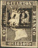 """ISABEL II. Isabel II. 1 De Enero De 1850. º 1 6 Cuartos Negro. Matasello De Portes Pagados """"P.P."""", En Negro De Gero - Spanje"""