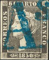 """ISABEL II. Isabel II. 1 De Enero De 1850. º 1A 6 Cuartos Negro. Matasello Prefilatélico """"AS"""", En Azul De Bar - Spanje"""