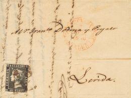 ISABEL II. Isabel II. 1 De Enero De 1850. SOBRE 1A 1850. 6 Cuartos Negro. BARCELONA A LERIDA. Matasello Prefilaté - Spanje