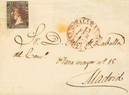 ISABEL II. Isabel II. 1 De Enero De 1850. SOBRE 1 1850. 6 Cuartos Negro. SALAMANCA A MADRID. Matasello Prefilatél - Spanje