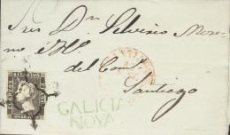 ISABEL II. Isabel II. 1 De Enero De 1850. SOBRE 1 1850. 6 Cuartos Negro (I-12). NOYA (CORUÑA) A SANTIAGO. En El F - Spanje