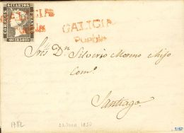 ISABEL II. Isabel II. 1 De Enero De 1850. SOBRE 1A 1850. 6 Cuartos Negro. PUEBLA A SANTIAGO. Matasello Prefilatél - Spanje