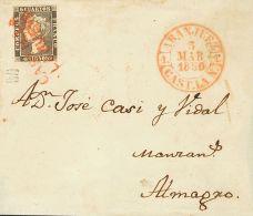 ISABEL II. Isabel II. 1 De Enero De 1850. SOBRE 1A 1850. 6 Cuartos Negro. ARANJUEZ A ALMAGRO. Matasello Prefilaté - Spanje
