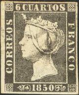 ISABEL II. Isabel II. 1 De Enero De 1850. * MH 1A 6 Cuartos Negro. Enormes Márgenes Y Color Intenso. PIEZA DE LUJ - Spanje