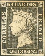 ISABEL II. Isabel II. 1 De Enero De 1850. * MH 1 6 Cuartos Negro (I-11). MAGNIFICO. Cert. CEM. (Edifil 2017: 660€) - Spanje