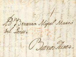 PREFILATELIA. Periodo Colonial. SOBRE 1808. VIGO A BUENOS AIRES (ARGENTINA). Marca ESPAÑA, En Rojo Aplicada A La - Spanje