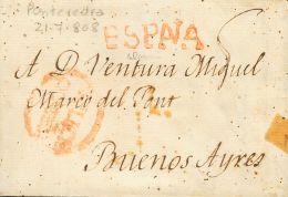 PREFILATELIA. Periodo Colonial. SOBRE 1808. PONTEVEDRA A BUENOS AIRES (ARGENTINA). Marca GALICIA / CORUÑA, En Roj - Spanje