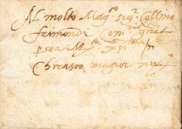 PREFILATELIA. Periodo Colonial. SOBRE (1600ca). CARAMAGNA A CHERASCO. Las Dos Ciudades Estaban Situadas En El Piamonte I - Spanje