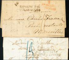 PREFILATELIA. Madrid. SOBRE 1823. Conjunto De Dos Cartas De MADRID A FRANCIA Con La Marca PTE. PAGADO / HASTA LA RAYA, E - Spanje