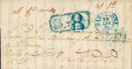 """PREFILATELIA. Madrid. SOBRE 1855. BARCELONA A MADRID. Marca """"S. Y D."""" (senadores Y Diputados), En Azul Aplicada A La Lle - Spanje"""