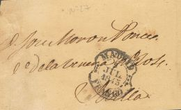 PREFILATELIA. Madrid. SOBRE 1845. Faja De Periódico De MADRID A SEVILLA. Marca MADRID / FRANCO, En Negro (P.E.29) - Spanje