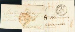 PREFILATELIA. Extremadura. SOBRE 1845. Conjunto De Dos Cartas De DON BENITO A MADRID Y TRUJILLO, Respectivamente Y Con B - Spanje