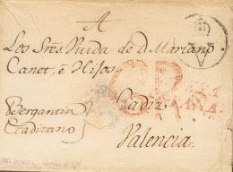 PREFILATELIA. Comunidad Valenciana. SOBRE 1802. VERACRUZ (MEXICO) A VALENCIA (leve Erosión En El Frente). Marca N - Spanje