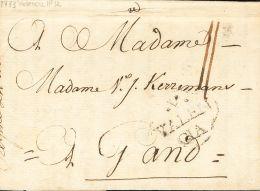 PREFILATELIA. Comunidad Valenciana. SOBRE 1773. VALENCIA A GANTE (BELGICA). Marca .V. / VALEN / CIA, En Negro (P.E.15) E - Spanje