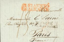 PREFILATELIA. Comunidad Valenciana. SOBRE 1826. ALICANTE A PARIS (FRANCIA). Marca SE FRANQUEO / EN ALICANTE (P.E.16) Edi - Spanje