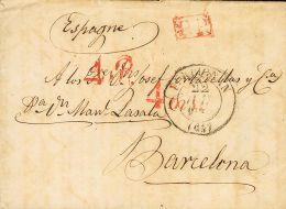 """PREFILATELIA. Cataluña. SOBRE 1837. PERPIGNAN A BARCELONA. Marcas De Porteo """"4 R"""" Y """"4 Ms"""", En Rojo Aplicadas A L - Spanje"""