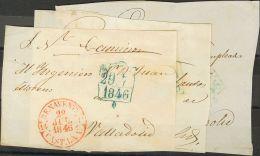 PREFILATELIA. Castilla-La Mancha. SOBRE 1846. Conjunto De Tres Frontales Dirigidos A VALLADOLID, Todos Ellos Con El Fech - Spanje