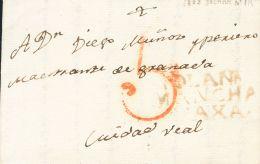 PREFILATELIA. Castilla-La Mancha. SOBRE 1808. LA SOLANA A CIUDAD REAL. Marca SOLANA / MANCHA / VAXA, En Tinta De Escribi - Spanje