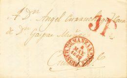 PREFILATELIA. Castilla-La Mancha. SOBRE 1849. MANZANARES A CIUDAD REAL. Baeza MANZANS. / MANCHA. B, En Rojo. MAGNIFICA E - Spanje